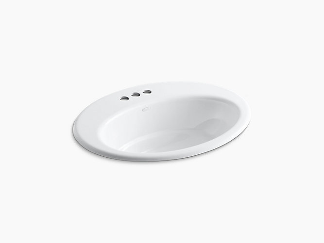 KOHLER K-2907-4 THOREAU 19 INCH CAST IRON DROP IN BATHROOM SINK WITH 3 HOLES DRILLED AND OVERFLOW