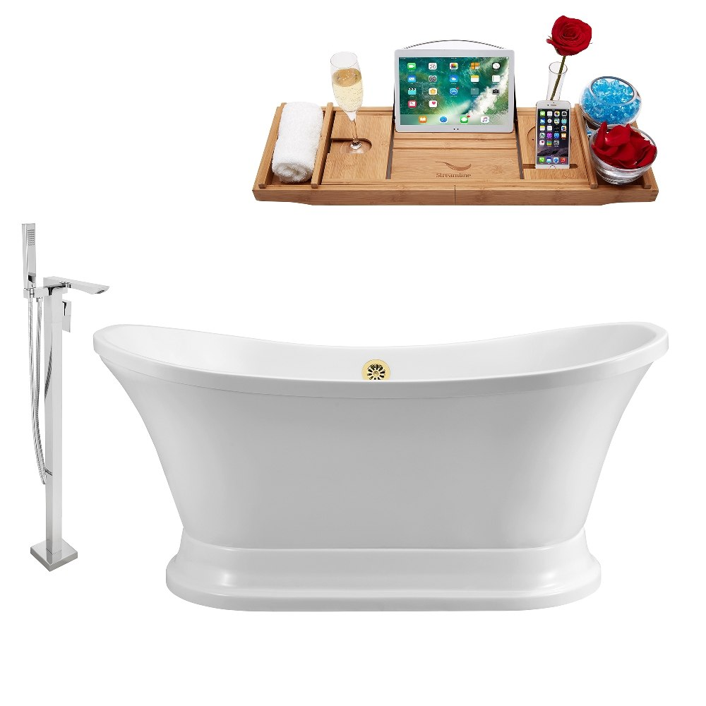 STREAMLINE NH200GLD-140 60 INCH WHITE FREESTANDING TUB, TRAY AND FAUCET SET