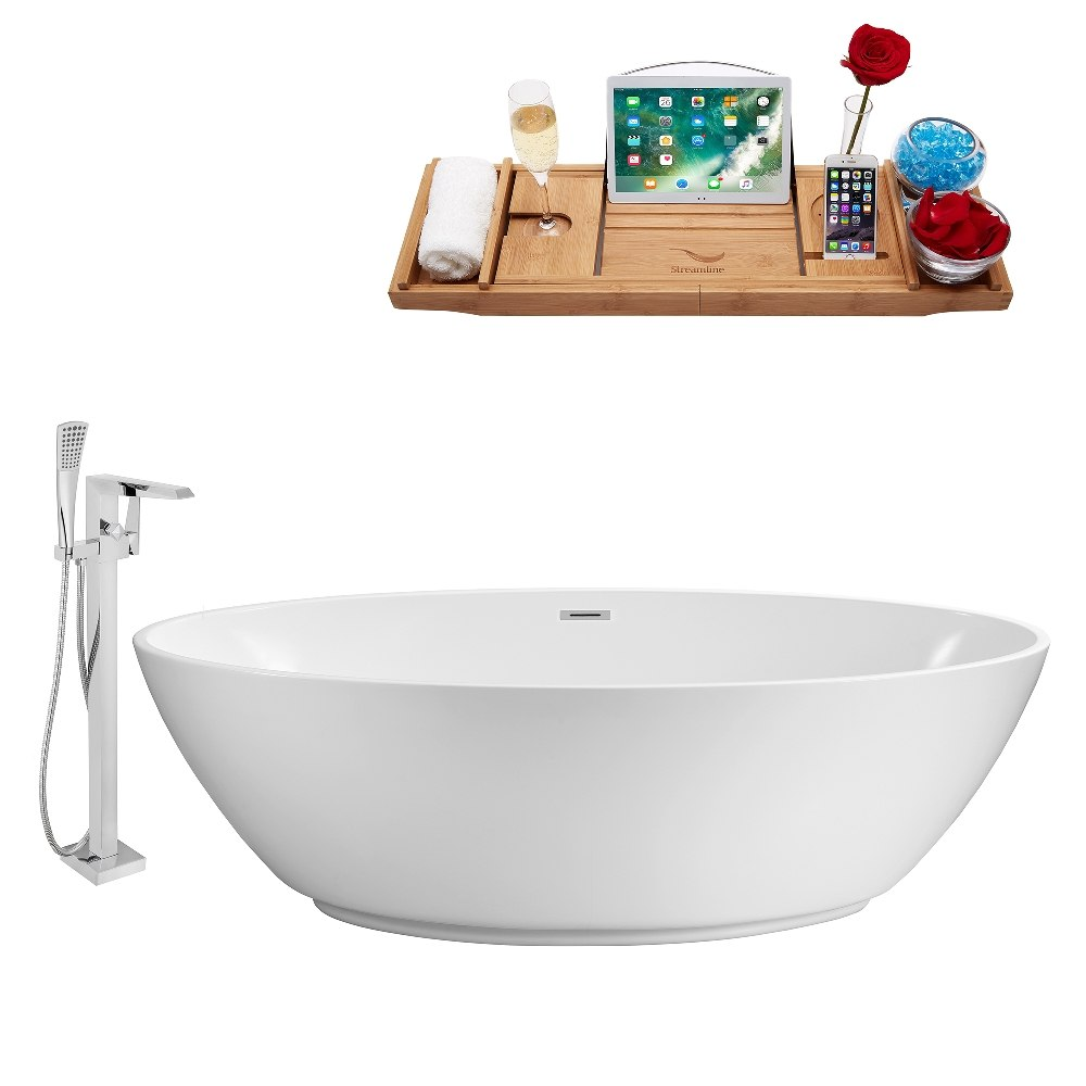 STREAMLINE NH420-100 63 INCH WHITE FREESTANDING TUB, TRAY AND FAUCET SET