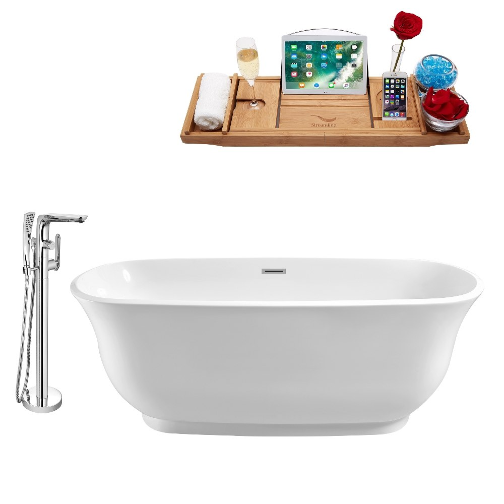STREAMLINE NH660-120 59 INCH WHITE FREESTANDING TUB, TRAY AND FAUCET SET