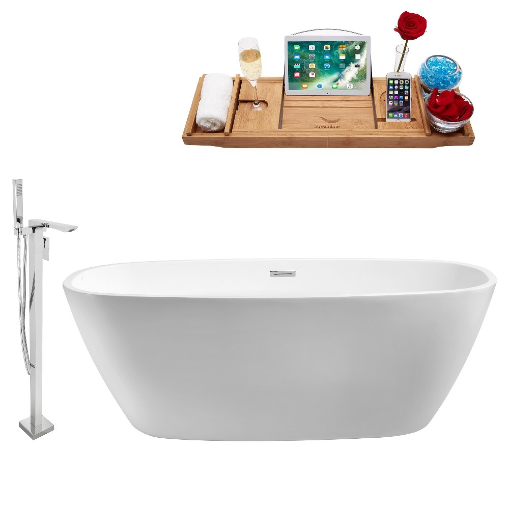 STREAMLINE NH700-140 59 INCH WHITE FREESTANDING TUB, TRAY AND FAUCET SET