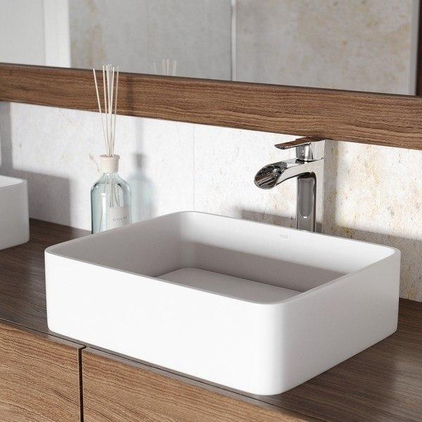 Vigo Vgt1262 Jasmine Matte Stone Vessel Bathroom Sink With Niko Faucet In Chrome