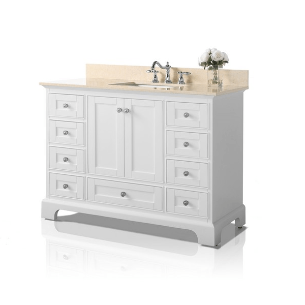Ancerre Designs Vtsm Audrey 48 W Gb Inch Bath Vanity Set In White With Natural Marble Top Galala Beige And 28 Mirror