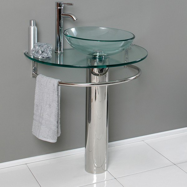 FRESCA CMB1060-V ATTRAZIONE 30 INCH MODERN GLASS BATHROOM PEDESTAL