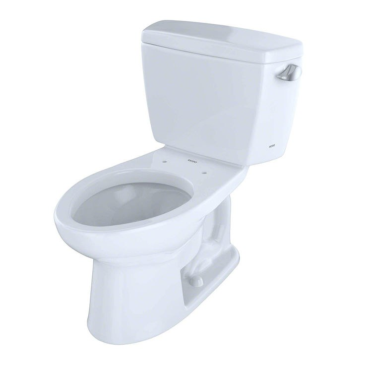 TOTO CST744ERB#01 ECO DRAKE TWO PIECE ELONGATED 1.28 GPF TOILET WITH E-MAX FLUSH SYSTEM, RIGHT HAND TRIP LEVER AND BOLT DOWN LID