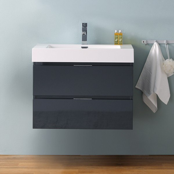 Fresca Fcb8330gg I Valencia 30 Inch Dark Slate Gray Wall Hung Modern Bathroom Vanity With Sink