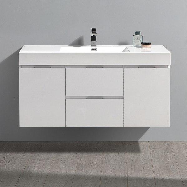 FRESCA FCB8348WH-I VALENCIA 48 INCH GLOSSY WHITE WALL HUNG MODERN BATHROOM VANITY WITH SINK