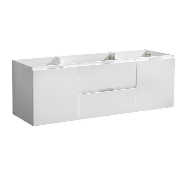 FRESCA FCB8348WH VALENCIA 48 INCH GLOSSY WHITE WALL HUNG SINGLE SINK MODERN BATHROOM CABINET