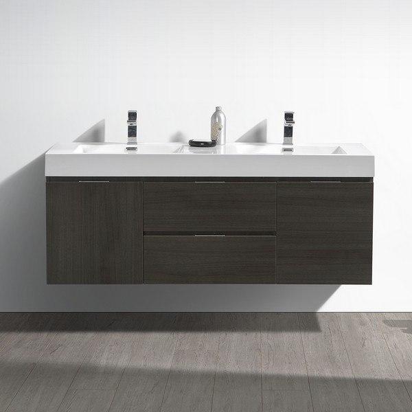 Fresca Fcb8360go D I Valencia 60 Inch Gray Oak Wall Hung Double Sink Modern Bathroom Vanity
