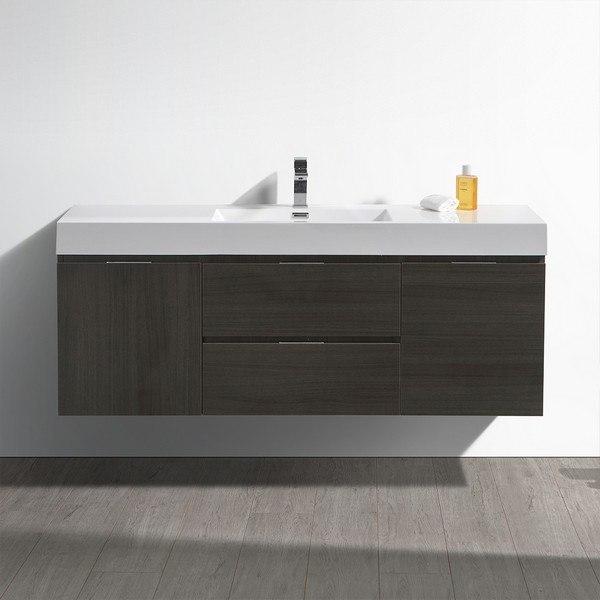 Fresca Fcb8360go I Valencia 60 Inch Gray Oak Wall Hung Modern Bathroom Vanity With Sink