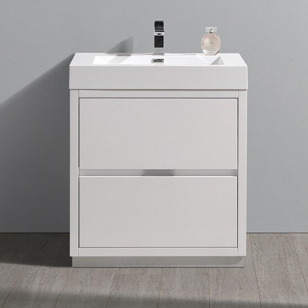 . FRESCA FCB8430WH I VALENCIA 30 INCH GLOSSY WHITE FREE STANDING MODERN  BATHROOM VANITY WITH SINK