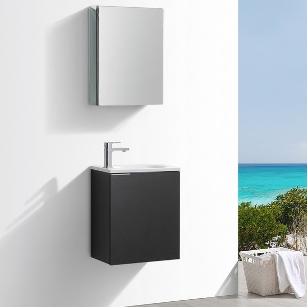 Fresca Fvn8003bw Valencia 20 Inch Black Wall Hung Modern Bathroom Vanity With Sink Faucet And Medicine Cabinet