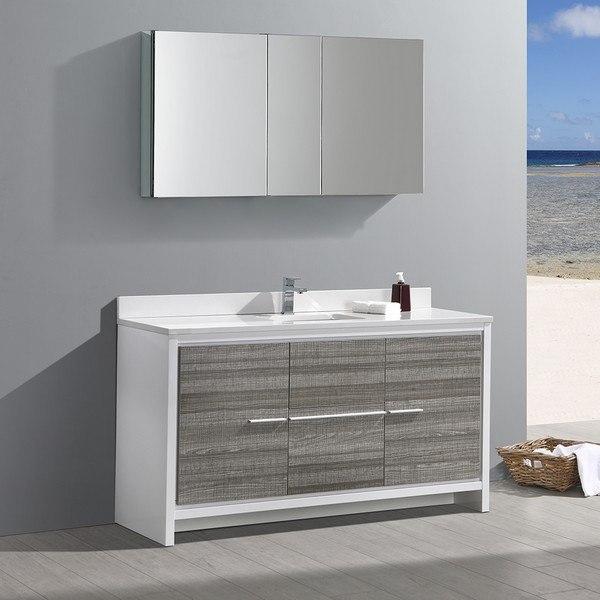 Fvn8119ha S Allier Rio 60 Inch Ash Gray Single Sink Modern Bathroom Vanity With Faucet And Medicine Cabinet