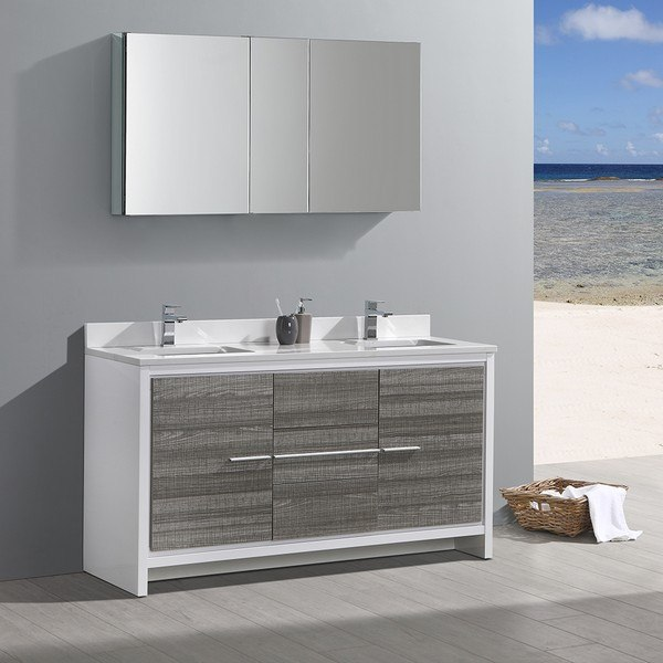 FRESCA FVN8119HA ALLIER RIO 60 INCH ASH GRAY DOUBLE SINK MODERN BATHROOM VANITY WITH FAUCETS AND MEDICINE CABINET
