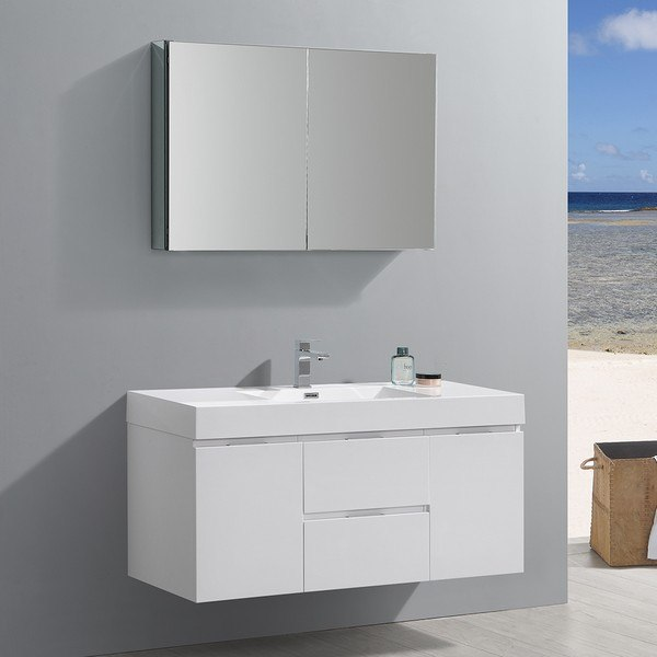 FRESCA FVN8348WH VALENCIA 48 INCH GLOSSY WHITE WALL HUNG MODERN BATHROOM VANITY WITH SINK, FAUCET AND MEDICINE CABINET