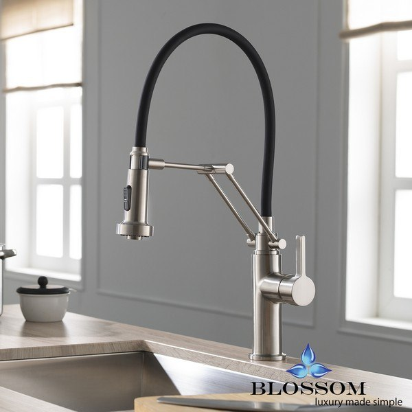 BLOSSOM F01 208 02 SINGLE HANDLE PULL DOWN KITCHEN FAUCET IN BRUSH NICKEL