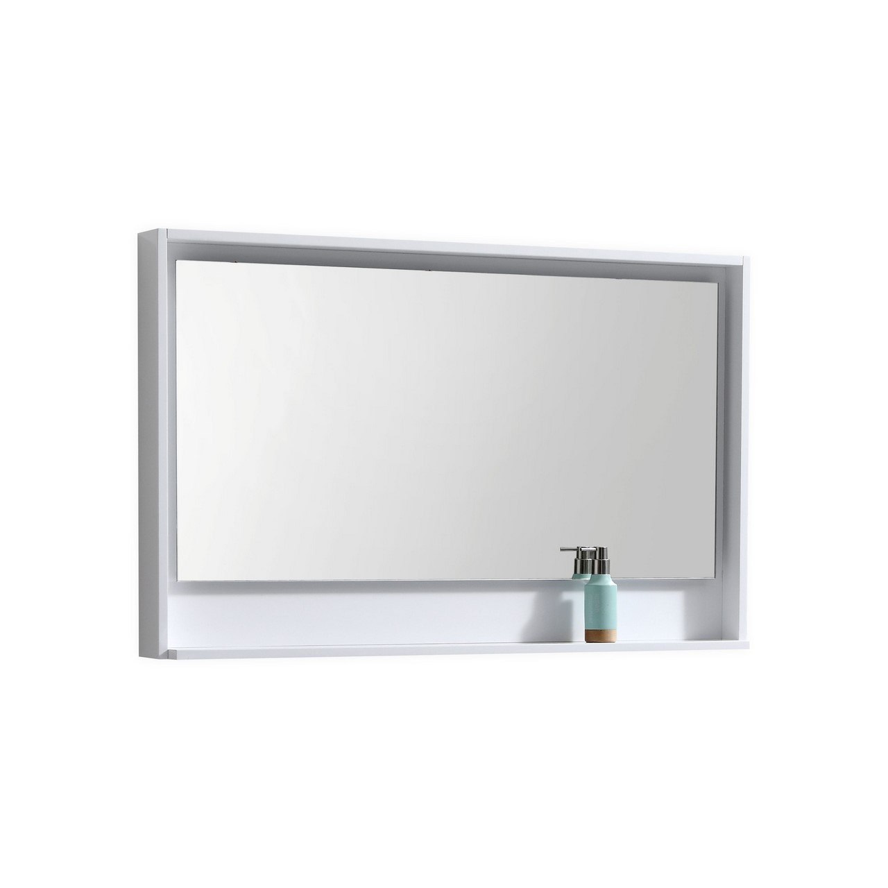 Kubebath KB48GW-M 48 Inch Wide Mirror with Shelf in High Gloss White