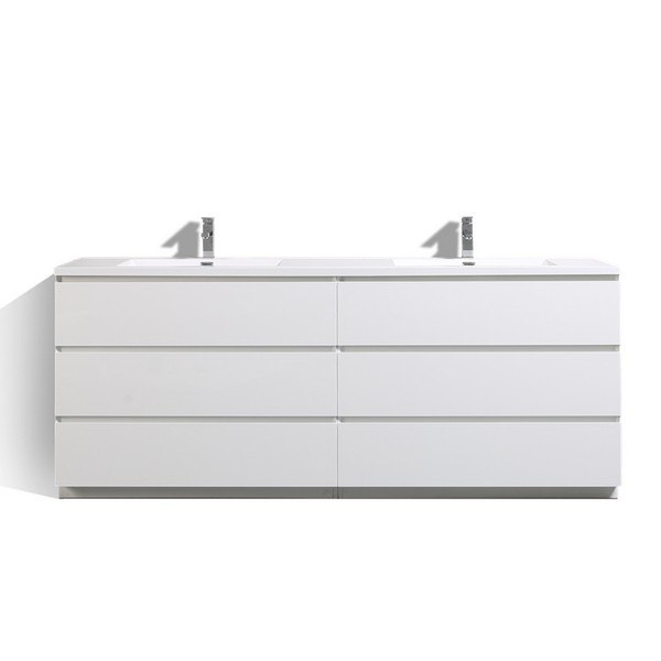 MORENO BATH MOA84D-GW 84 INCH DOUBLE SINK FREE STANDING MODERN BATHROOM VANITY WITH REINFORCED ACRYLIC SINK IN HIGH GLOSS WHITE