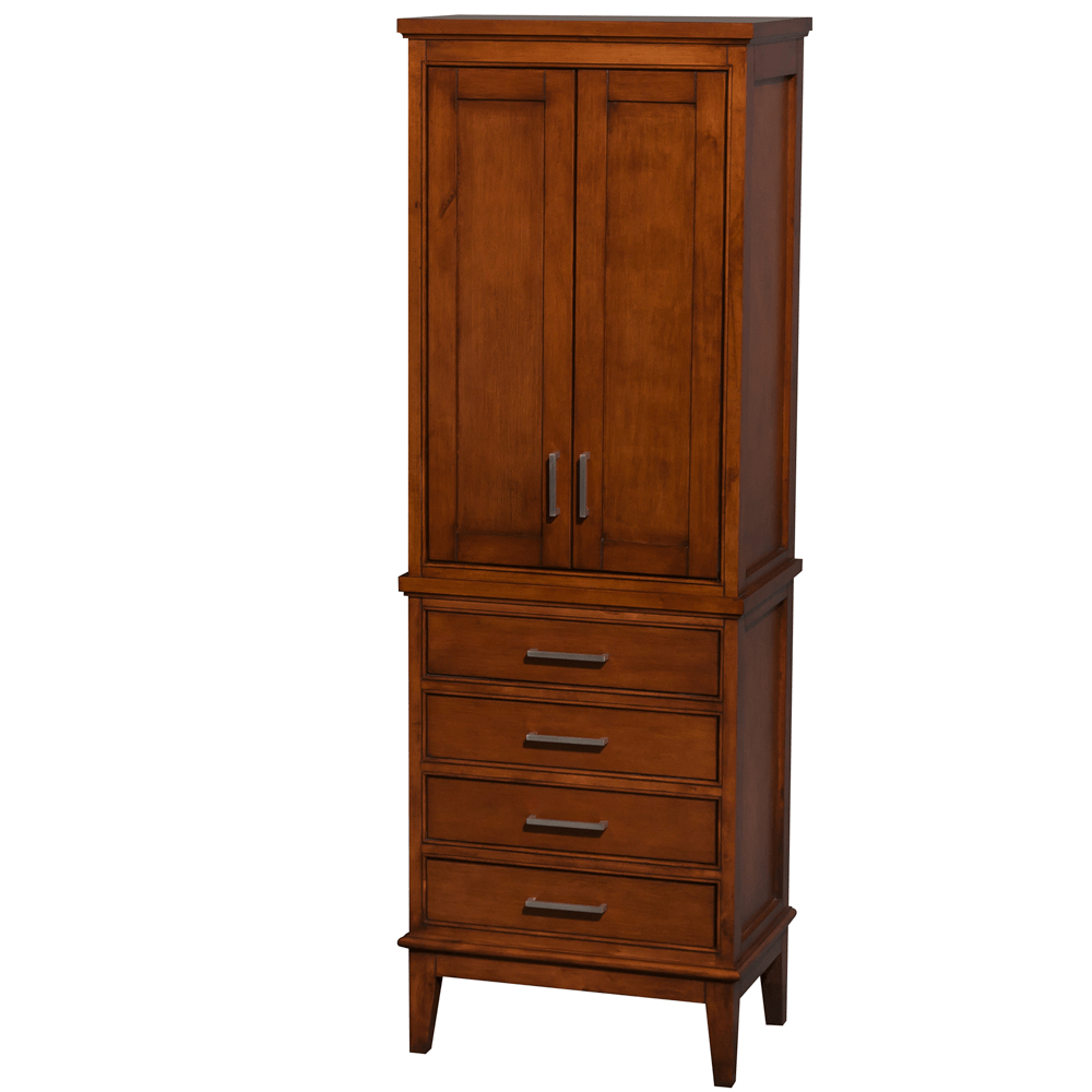 WYNDHAM COLLECTION WC1616LTCLT HATTON 24 INCH BATHROOM LINEN TOWER IN LIGHT CHESTNUT WITH SHELVED CABINET STORAGE AND 4 DRAWERS