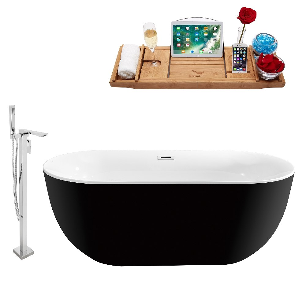 STREAMLINE NH802-140 67 INCH FREESTANDING TUB IN MATTE BLACK WITH TRAY AND FAUCET SET IN POLISHED CHROME