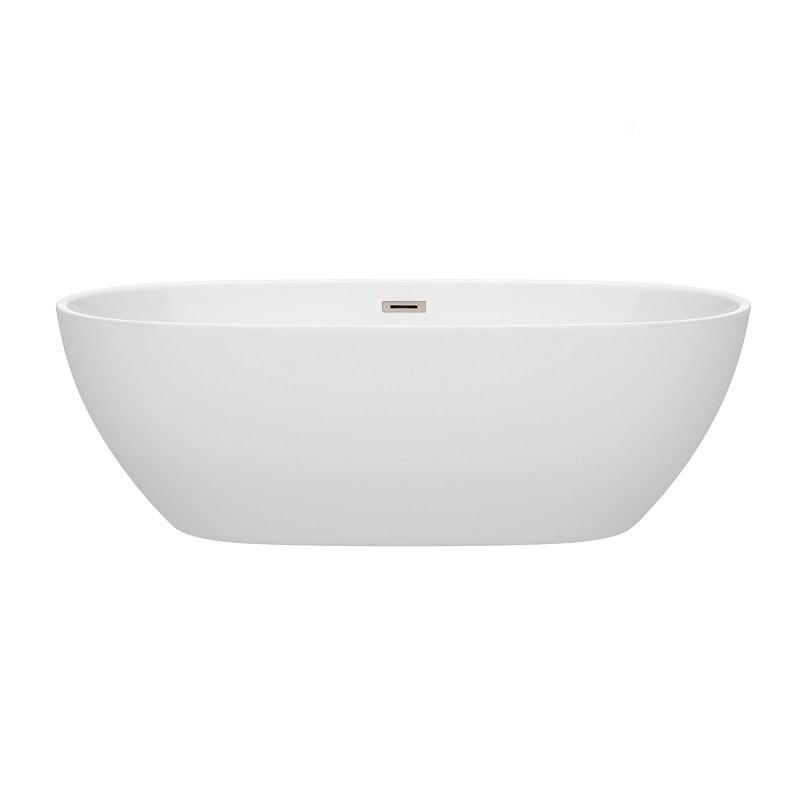 WYNDHAM COLLECTION WCBTK156171BNTRIM JUNO 71 INCH SOAKING BATHTUB IN WHITE WITH BRUSHED NICKEL TRIM