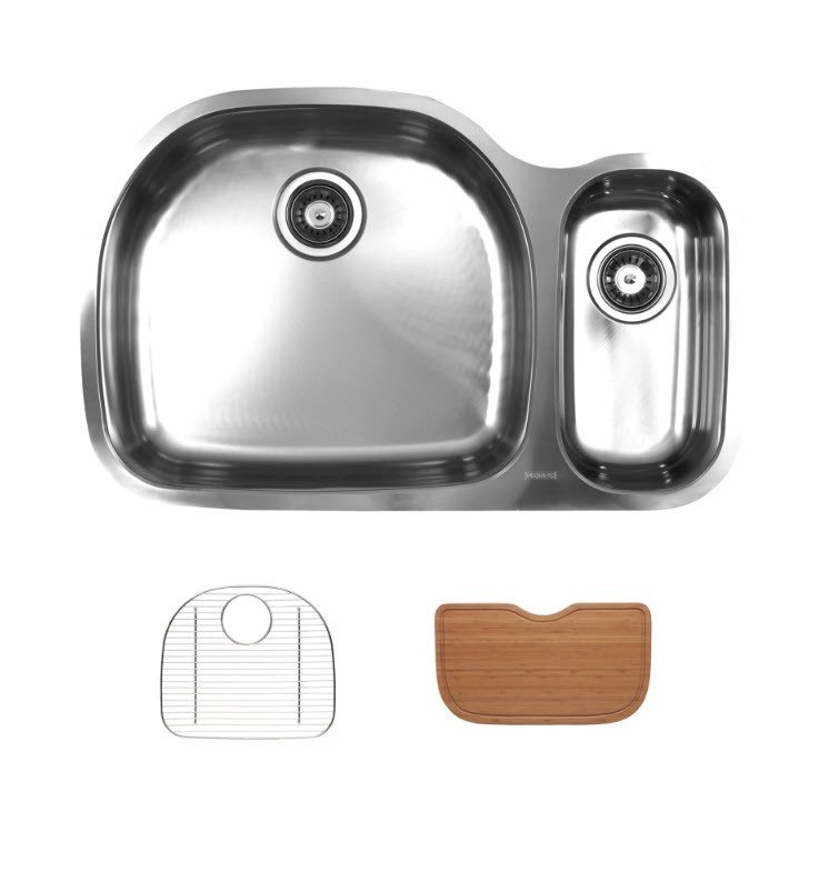 UKINOX D537.70.30.10L.GC UNDERMOUNT SINGLE BOWL STAINLESS STEEL KITCHEN SINK WITH BOTTOM GRID AND CUTTING BOARD