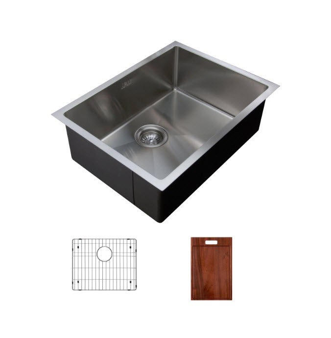 Ukinox RS558.GC Undermount Single Bowl Stainless Steel Kitchen Sink With  Bottom Grid and Cutting Board