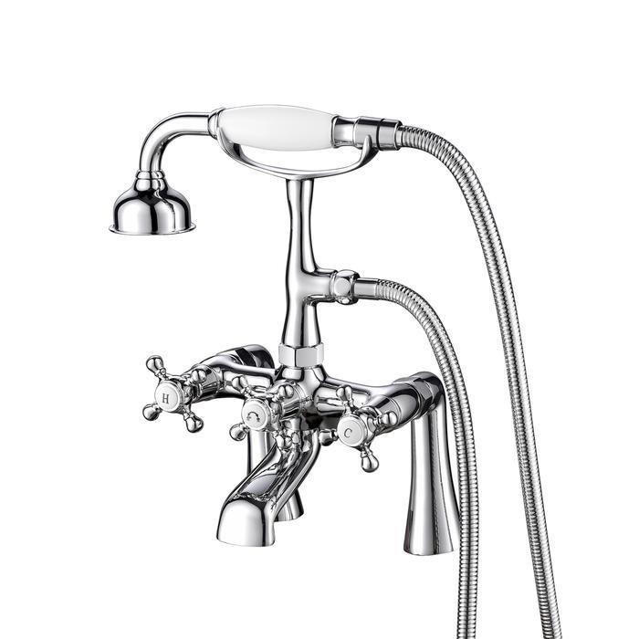 BARCLAY 4608-MC VINTAGE 13 1/2 INCH TWO HOLES DECK MOUNT TUB FILLER WITH HAND SHOWER AND DIVERTER