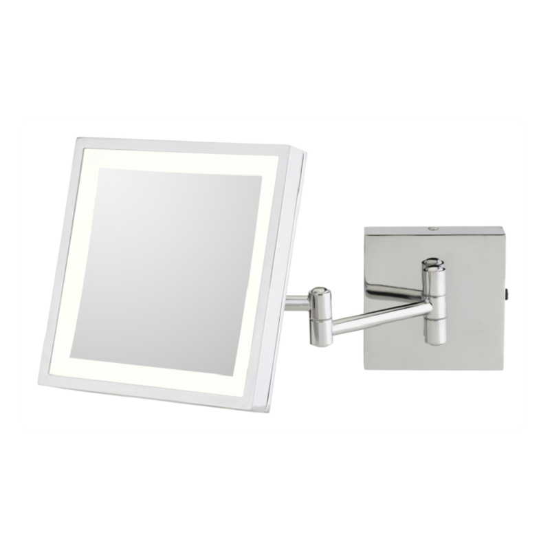 APTATIONS 913-55-43 KIMBALL & YOUNG 8 INCH WALL MOUNT SINGLE SIDED LED LIGHTED MAGNIFIED MAKEUP MIRROR IN CHROME