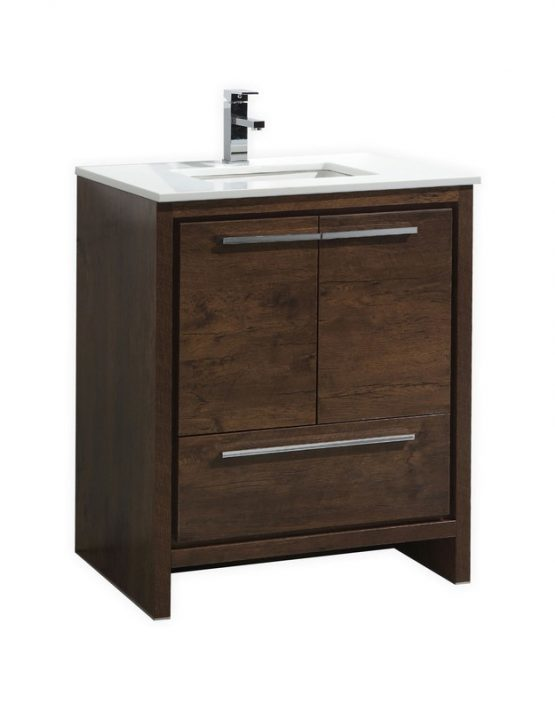 Moreno Bath MD630RW MOD 30 Inch Rose Wood  Free Standing Modern Bathroom Vanity With 2 Doors and Quartz Countertop