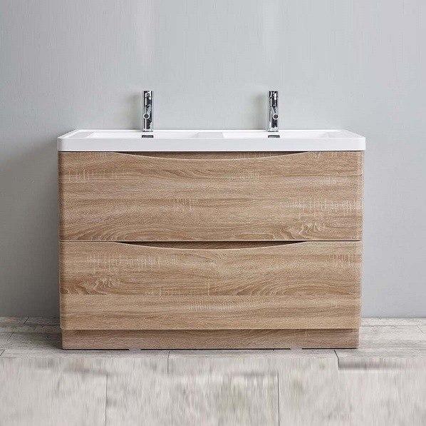 Eviva EVVN12-DS-48WHOK-FS Smile 48 Inch Rosewood Modern Bathroom Vanity Set