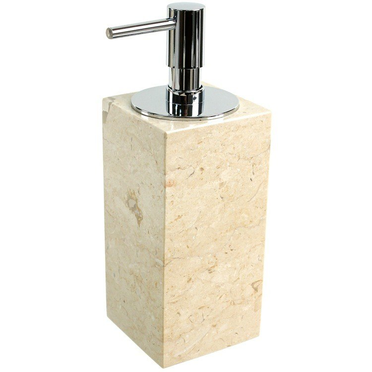GEDY EU80-03 EUCALIPTO SQUARE BEIGE SOAP DISPENSER MADE FROM MARBLE
