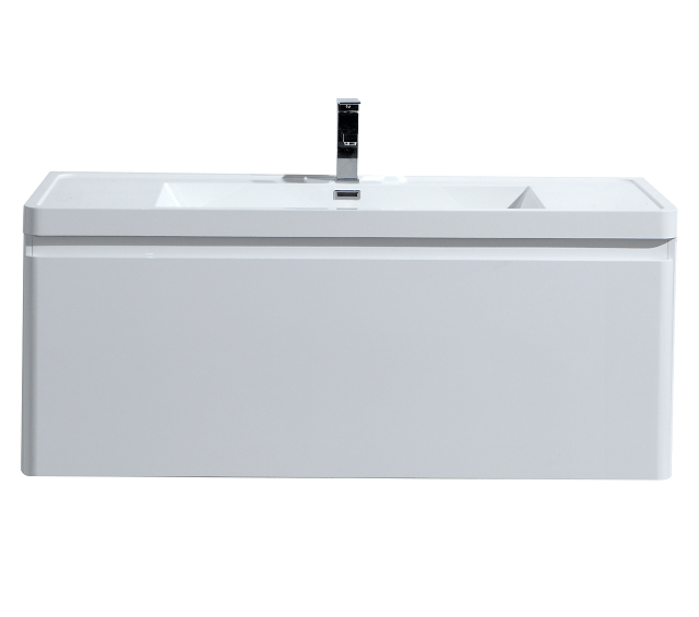 Moreno Bath HA1200S-GW Happy 48 Inch High Gloss White Wall Mounted Modern Bathroom Vanity with 2 Drawers and Reinforced Acrylic Sink