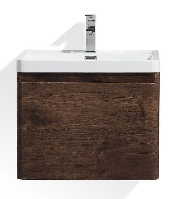 Moreno Bath HA600-RW Happy 24 Inch White Rose Wood Mounted Modern Bathroom Vanity with 2 Drawers and Reinforced Acrylic Sink