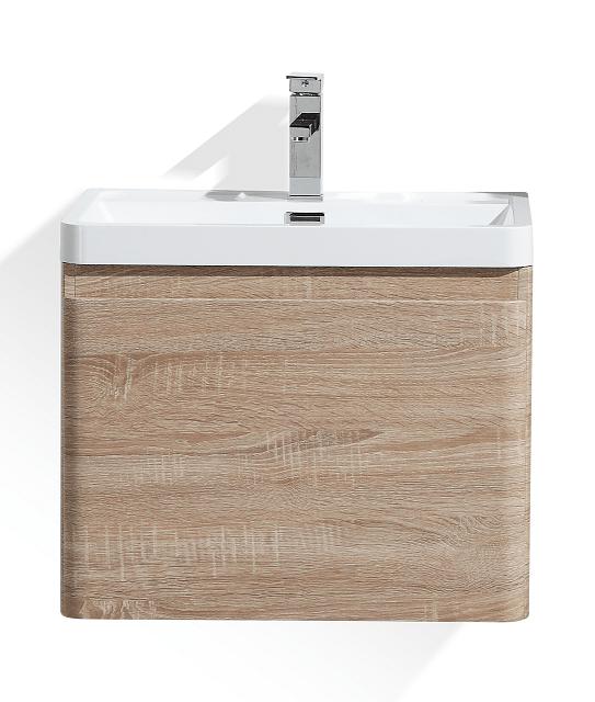 Moreno Bath HA600-WO Happy 24 Inch White Oak Wall Mounted Modern Bathroom Vanity with 2 Drawers and Reinforced Acrylic Sink