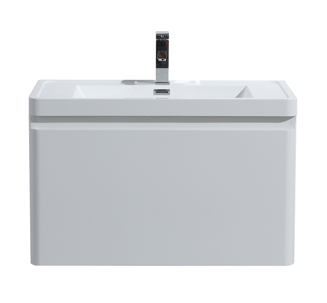 Moreno Bath HA800-GW Happy 32 Inch High Gloss White Wall Mounted Modern Bathroom Vanity with 2 Drawers and Reinforced Acrylic Sink