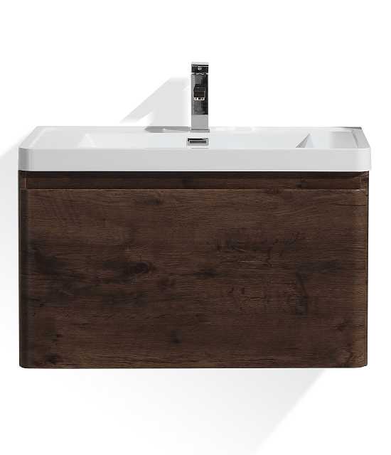 Moreno Bath HA800-RW Happy 32 Inch Rosewood Wall Mounted Modern Bathroom Vanity with 2 Drawers and Reinforced Acrylic Sink