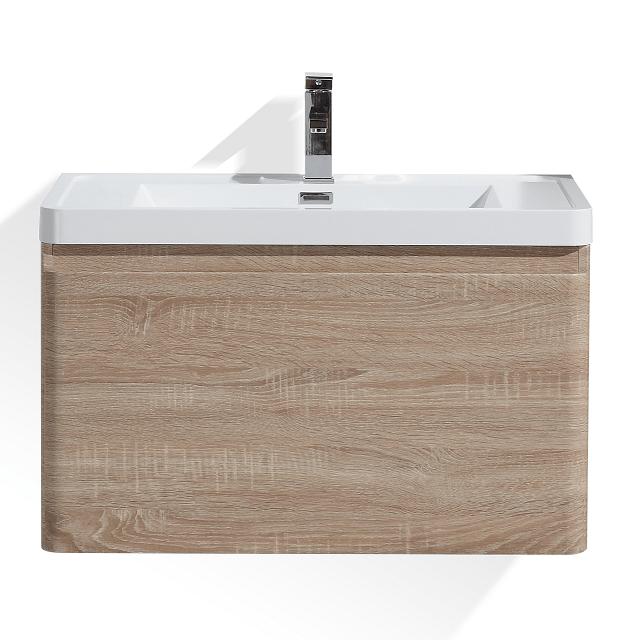 Moreno Bath HA800-WO Happy 32 Inch White Oak Wall Mounted Modern Bathroom Vanity with 2 Drawers and Reinforced Acrylic Sink