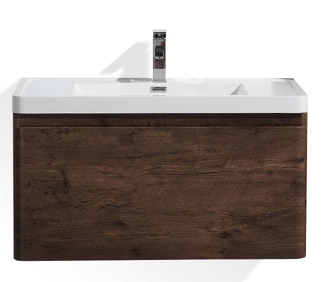 Moreno Bath HA900-RW Happy 36 Inch Rosewood Wall Mounted Modern Bathroom Vanity with 2 Drawers and Reinforced Acrylic Sink