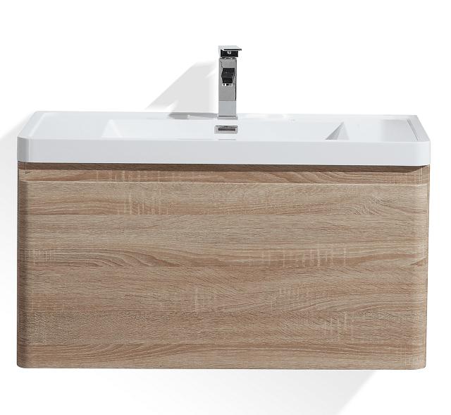 Moreno Bath HA900-WO Happy 36 Inch White Oak Wall Mounted Modern Bathroom Vanity with 2 Drawers and Reinforced Acrylic Sink