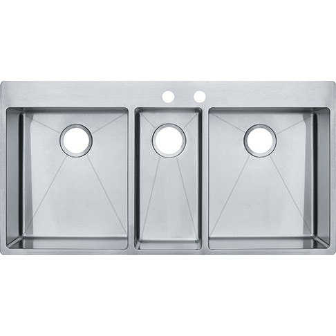 Medium image of franke hft4322 vector 43 inch dual mount triple bowl polished satin kitchen sink