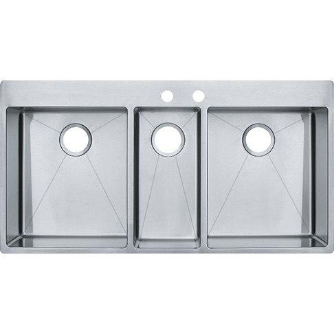 Franke HFT4322 Vector 43 Inch Dual Mount Triple Bowl Polished Satin Kitchen Sink