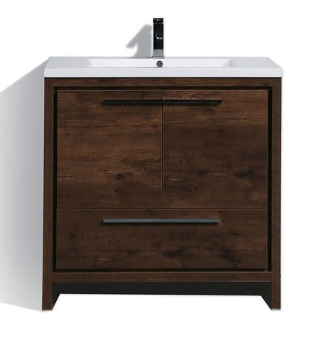 Moreno Bath MD636RW MOD 36 Inch Rose Wood  Free Standing Modern Bathroom Vanity With 2 Doors and Quartz Countertop