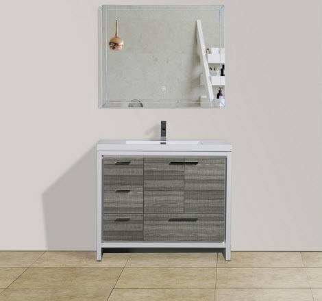 Moreno Bath MD642LHG MOD 42 Inch High Gloss Ash Grey Modern Bathroom Vanity With Left Side Drawers