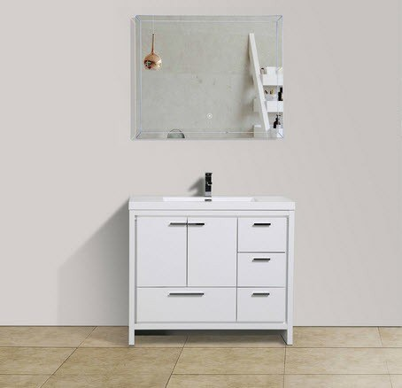 Moreno Bath MD642RGW MOD 42 Inch High Gloss White Modern Bathroom Vanity With Right Side Drawers