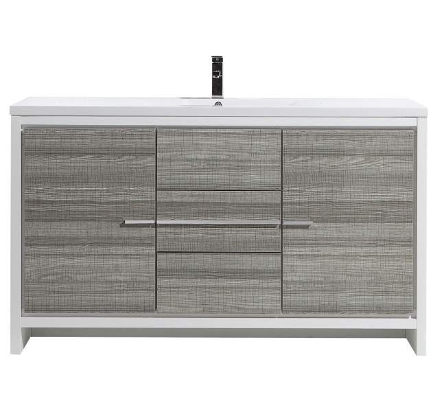 Moreno Bath MD660SHG MOD 60 Inch Ash Gray Modern Bathroom Vanity With 2 Doors, 3 Drawers and Acrylic Sink