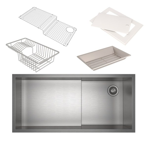 Rohl RUWKIT36162SB Culinario 37-7/8 Inch Rectangular Undermount Single Bowl Kitchen Sink with Accessories in Brushed Stainless Steel