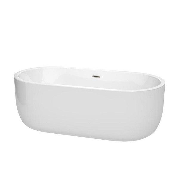 WYNDHAM COLLECTION WCOBT101367BNTRIM JULIETTE 67 INCH FREESTANDING BATHTUB IN WHITE WITH BRUSHED NICKEL DRAIN AND OVERFLOW TRIM