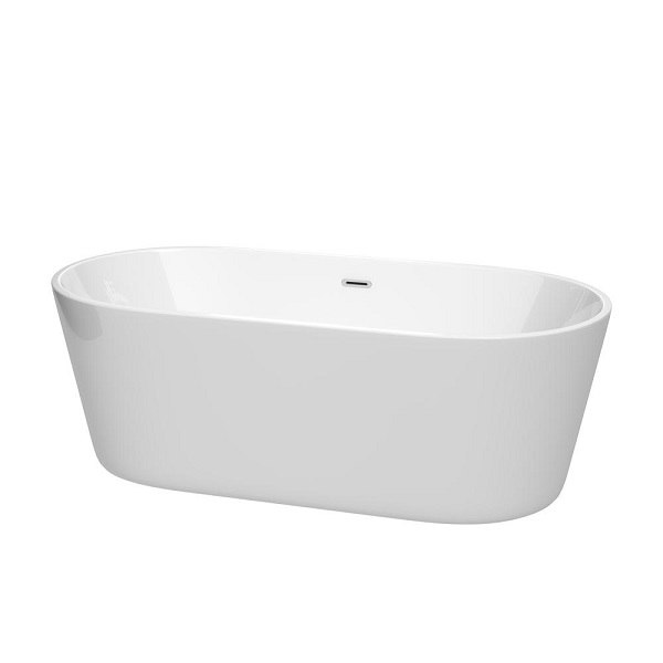 WYNDHAM COLLECTION WCOBT101267 CARISSA 67 INCH FREESTANDING BATHTUB IN WHITE WITH POLISHED CHROME DRAIN AND OVERFLOW TRIM