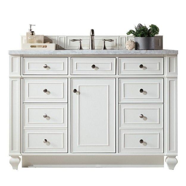 James Martin 157 V48 Cwh 4dsc Bristol 48 Inch Single Vanity In Cottage White With 4 Cm Santa Cecilia Granite Top